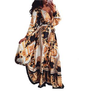 2020 Women Boho Wrap Summer Lond Dress Print V Neck Party Dress Long Sleeve Loose Dresses Cocktail Party