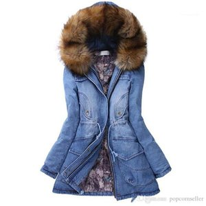 Long Coats Fashion Hooded Jean Jackets Fur Warm Thickened Outerwear Casual Womens Clothing Women Winter Thickened