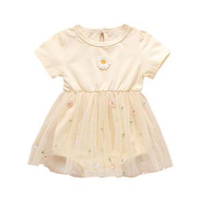 2020 Summer Baby Girls Flower Romper Fashion Small Chrysanthemum Embroidery Skirted Rompers Korean Newborn Jumpsuit Kids Clothes