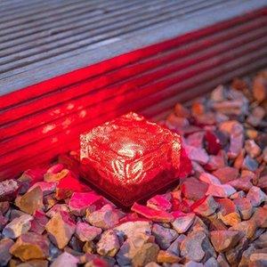pelouse lampe solaire énergie lampe cube de glace de simulation de forme de carreaux de sol en briques LED de nuit solaire exploité jardin décoration plaza éclairage insta 7Ads #