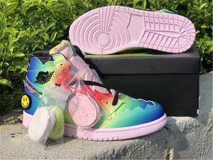 J Balvin x autênticos 1 alta OG Man tênis de basquete Multi Color Preto Foam Rosa Jennifer Lopez Shakira Tie-Dye Zapatos Sneakers com caixa