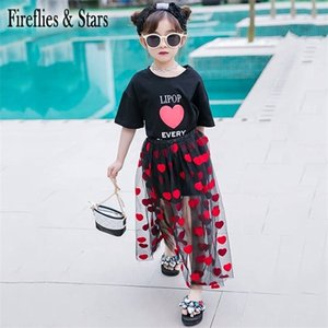Summer girls 2 pcs set baby tee shirt + tutu skirt kids suit children set red heart letter print embroidery mesh 4 to 14 yrs X0923