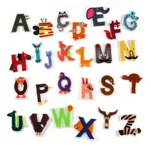 A-Z English Alphabet Letter Animals Patches Embroidered Iron On Patch Badge Paste For Clothes Bag Pant Shoes Sewing
