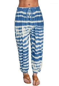 Taille Yoga Pants Bindung gefärbte Rekaxed Hosen für Frauen Mode Fitness Kordelzug Sport Damen-Hosen Striped Elastic
