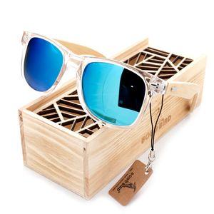 BOBO BIRD Unisex Square Sunglasses Women's Polarized Wood Sun Glasses Clear Color Men Eyewears lunette de soleil femme