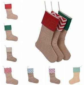 12 * 18INCH рождественские чулки 10style Рождественская елка украшения Санта-Клауса подарков конфеты сумки Plain Burlap украшения Холст Носок GGA3629-2