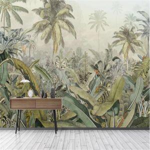 Mlofi custom large wallpaper mural medieval hand-painted tropical rainforest plant banana leaf TV background wall