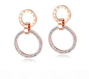 Designer earrings luxury designer jewelry women earrings rose gold designer jewelry white crystal double rings roman number dangle earrings
