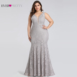 Plus Size Prom Dresses Ever Pretty EP08838 Elegant Mermaid Lace Sleeveless V-neck Long Party Gowns Sexy Wedding Guest Gowns 201119