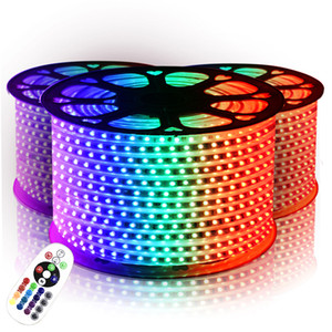 Светодиодные полосы света водонепроницаемый SMD 5050 RGB 110V 220V LED Strip 10М-50М 60leds / м IP65 Источник питания ИК-пульт дистанционного управления