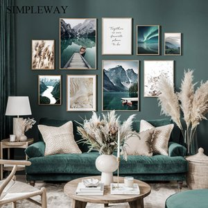 Скандинавские путешествия Пейзаж Холст Картина Mountain Boat Grass Nordic Poster Print Wall Art Picture Modern Living Room Decor