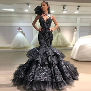 New Sparkly Black Evening Dress Mermaid V Neck Tiered Skirt Formal Party Prom Dresses robe de soiree Ruffles Gown abendkleider
