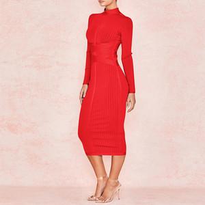 Ocstrade Yeni Geliş 2020 Kadın Midi Kırmızı Seksi Yüksek Yaka Uzun Kollu BODYCON Bandaj Elbise Rayon Parti Elbise Y200805