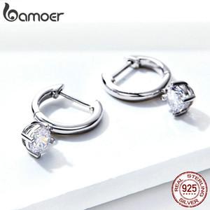 BAMOER Silver Earrings 925 Sterling Silver Clear CZ Tiny Drop Earrings for Women Wedding Jewelry Gifts Argent Brincos SCE553 200923
