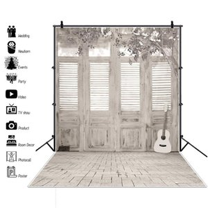 Laeacco Gray White Simple Decor House Door Guitar Flowers Baby Interior Photo Backgrounds Photography Backdrops Photo Studio