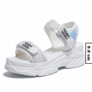 Fujin Summer Women Sandals Buckle Design Black White Platform Sandals Comfortable Women Thick Sole Beach Shoes Mens Loafers Formal Sho 5w6S#