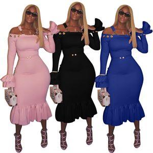 슬림 드레스 TCZXS 슬리브 트럼펫 슬림 LS6020 솔리드 컬러 슬링 슬링 드레스 한 줄 칼라 슬리브 트럼펫 LS6020 단색 한 줄 칼라