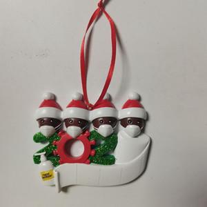2020 Карантин рождественские украшения подарков African смолы Рождественская елка висячие украшения Санта-Клауса с маской Фигурка 7 Люди LJK2479