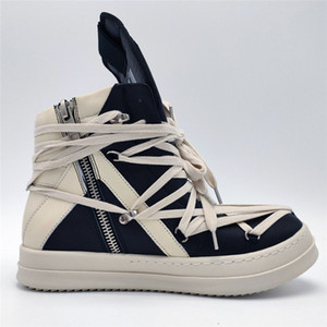 2020ss Exclusive high Top genuine leather cross shoelaces dunk geo-basket Black and white high street rock boots