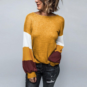 Women Ladies Patchwork Print Long Sleeve Pullover Tops Waffle Color Block Pullover Commuter Office Sweatshirt