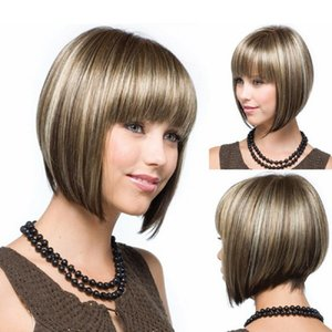 Frauen kurze glatte Haarperücken Bob Cool Style Cosplay Party Full Perücke W / Bangs USA