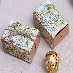 500pcs Wedding Map Favor Box Traveling Theme Wedding Decoration Gift Box Kraft Box Party Supplies