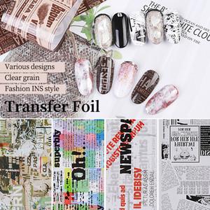 10pcs Kit 4 * 50 centímetros Transferência Nail Art Stickers Estilo Retro Foil Newspaper Design Decalque On Beauty Nails Manicure Decoração