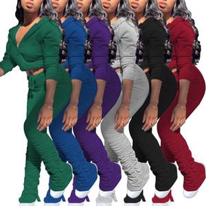 Осень Женщины Твердые костюмы Мода штабелированные Брюки Два кусочка Наборы 2020 с капюшоном на молнии куртки и Sweatpants Две пьесы Длинные рукава Set