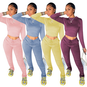 Womens Designer Tracksuits Solid Color Long Sleeve Tops Stacked Pants Woman Two Piece Outfit Women Clothes