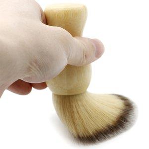 Di alta qualità in morbida lana Capelli Pennello da barba per gli uomini barba barbiere Spolverare spazzole in bambù superficie liscia Parrucchiere pennello pulito
