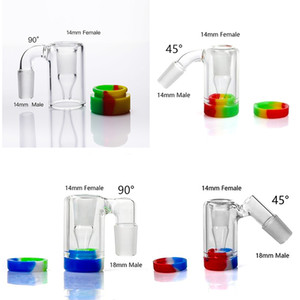 New Styles 14mm 18mm Glass Ash Catcher Silicone Container Reclaimer With 4mm Quartz Banger Glass Ashcatchers For Glass Water Bongs Dab Rigs