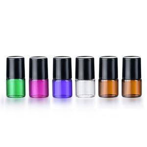 1ml Atacado 2 ml de metal garrafas de rolo, para óleos essenciais Mini vidro Roll On Frascos Com Preto Lid DHD1109