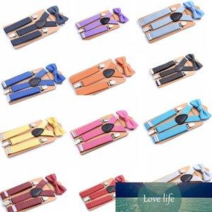 14styles Kids Tie Suit Child Suspenders Bow Tie Set Baby Braces Elastic Y-back Boys Girls School Suspenders Accessories dot design FFA1195