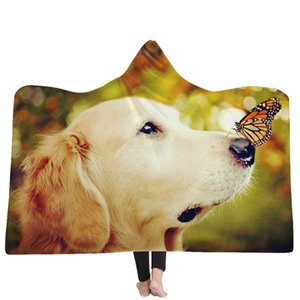 Dog Cat Animal Printed Hooded Blanket for Adults Kids Wearable Winter Warm Plush Sherpa Fleece Blankets for Sofa Watching TV