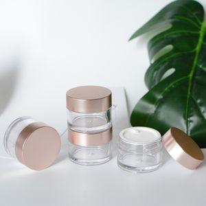 5pcs / Lot 15g Rose Gold vazio Creme Jar Recipiente, plástico PS Cosmetic Container Packaging, maquiagem Garrafas de Viagem Rosto, DIY Beauty Packaging
