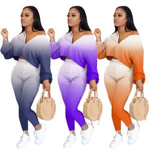 Kadınlar Gradient Renk İki Adet Set Puff kollu Crop Top Ve Pantolon Takım Elbise Seksi rahat giysileri Artı boyutu Giyim Sonbahar Sweat