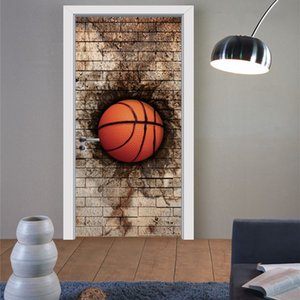 77x200cm 3D BrickWall Basketball Door Wall Sticker Living Room Bedroom PVC Self-adhesive Home Decor DIY Wallpaper Mural Decal