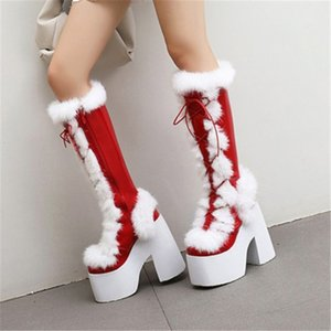 PXELENA Gorgeous Real Fur Punk Rock Gothic Cosplay Knee High Boots Chunky Block Thick Sole Platform Costume Catwalk Boots