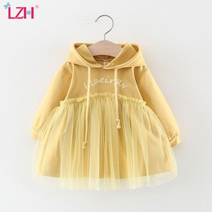 LZH 2020 Hot Selling Autumn Fashion Sweater Mesh Dress Hooded Long Sleeve Baby Girls Dress Infant Newborn Clothes 0-3 Year