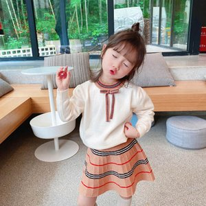New 2020 Autumn Winter Boutique Girls Outfits Fashion Girls Suits knitted sweater+skirts 2pcs set little girls clothes 1-7Y retail B2087