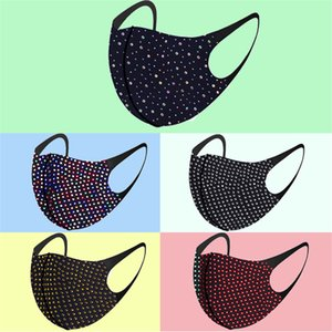 Fast Shipping Bling Bling Rhinestone Designer Face Women Masks Protective Dustproof Washable Reuseable Facemask Fashion Party Mouth Mask