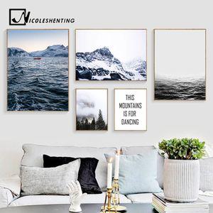 Foggy Mountain Forest Canvas Poster Nordic Wall Art Imprimer Océan Paysage Peinture décorative Image Moderne Décoration