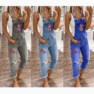 Women elegant Hole Denim Jumpsuit Romper Long Trousers Overalls Straps Jumpsuit S-5XL ladies Casual Loose plus size jumpsuits T200509