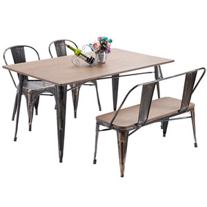 US Stock Fast Shipping TREXM Antique Style Rectangular Dining Table with Metal Legs, Distressed Black Home Furniture PP036324DAA