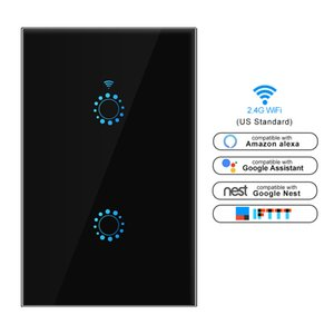Smart switch Wifi Light Switch Glass Screen Touch Panel Voice Control Wall Switch work with Alexa Echo Google Home US 1 2 3-Gang
