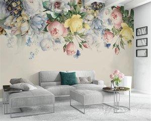 Wholesale 3d Wallpaper Hand painted retro rose tv background wall Digital Printing HD Decorative Beautiful Wallpaper