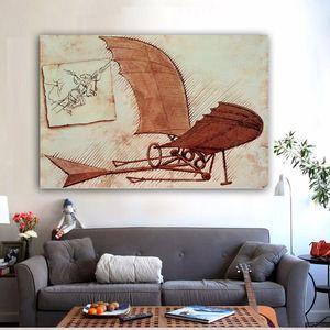 Máquina de vôo Leonardo Da Vinci Wall Art Pintura abstrata Pictures Canvas giclée na lona para Sala No Frame