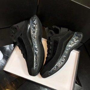 Mulheres Velvet bezerro Sapatos Air cushio Sneakers Couro Real Oversize Platform Trainers Preto Marfim Transparente inferior Sapatilha com caixa