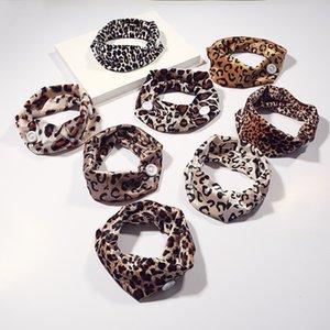 Leopard cabeça de impressão envoltório elástico Botões Mulheres Moda hairband Bandas Snoods Cabelo Hoop pano Cabelos Encadernação 2 45py C2