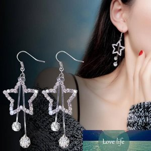 Simple New Design Star Rhinestone Crystal Silver Stud Earrings Piercing Pentagram earrings for Women Wedding Party Gift Free Shipping